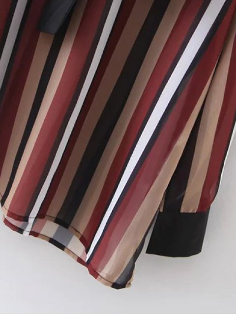 online Colorful Striped Bow Tie Blouse - STRIPE M Mobile