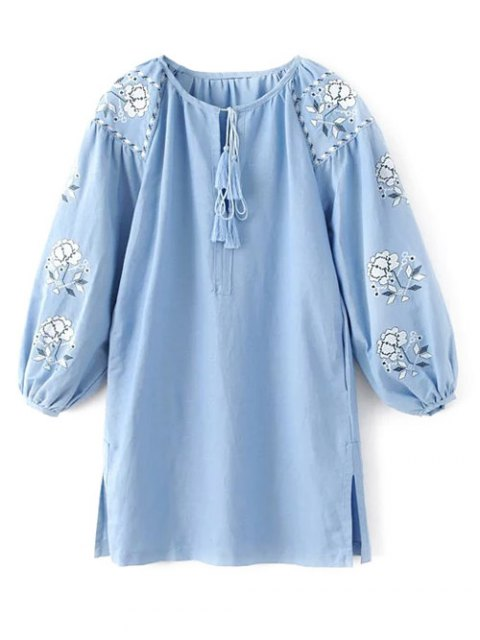 women's Lantern Sleeve Embroidered Tunic Blouse - LIGHT BLUE L Mobile