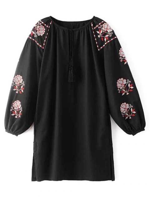 best Lantern Sleeve Embroidered Tunic Blouse - BLACK L Mobile