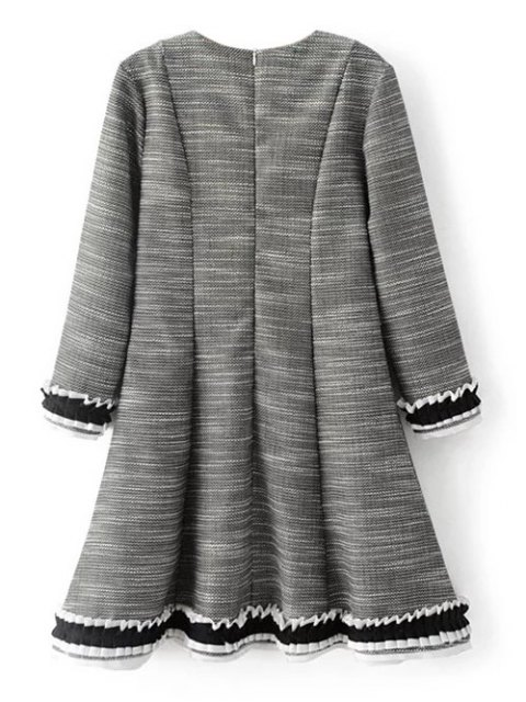 latest Frill Trim Long Sleeve A Line Dress - GRAY S Mobile