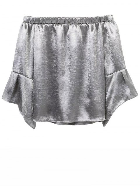 trendy Off The Shoulder Velvet Smcok Top - SILVER M Mobile