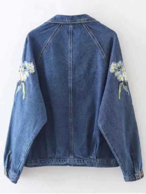 lady Contrast Floral Embroidered Denim Jacket - DENIM BLUE L Mobile