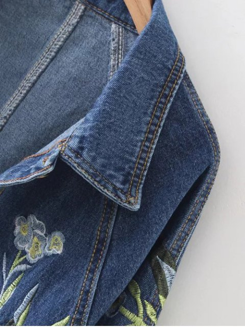 online Contrast Floral Embroidered Denim Jacket - DENIM BLUE S Mobile