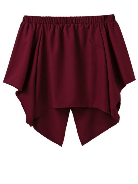 women's Off The Shoulder Crossover Back Smock Top - BURGUNDY S Mobile