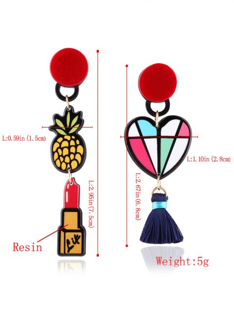 buy Asymmetric Lipstick Heart Tassel Drop Earrings - COLORMIX  Mobile