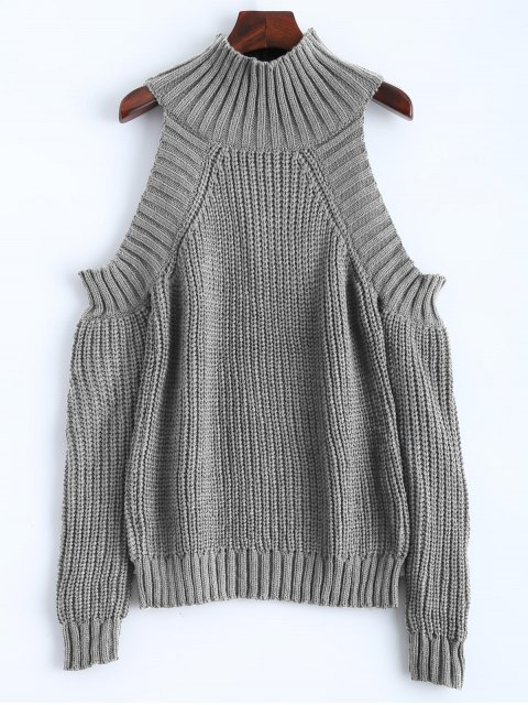 unique Cold Shoulder Funnel Collar Jumper - GRAY ONE SIZE Mobile
