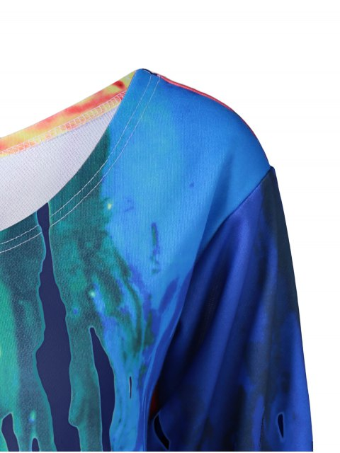 women Skew Collar Dripping Paint Sweatshirt - BLUE L Mobile