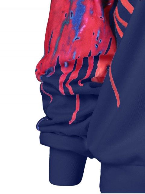 womens Skew Collar Dripping Paint Sweatshirt - BLUE XL Mobile