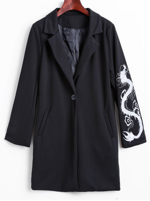 shop Lapel Collar Dragon Embroidered Coat - BLACK L Mobile
