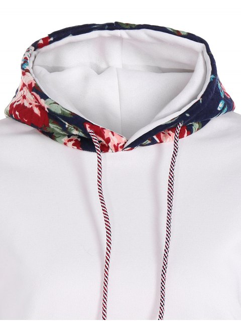 trendy Floral Spliced Long Sleeve Pullover Hoodie - WHITE M Mobile
