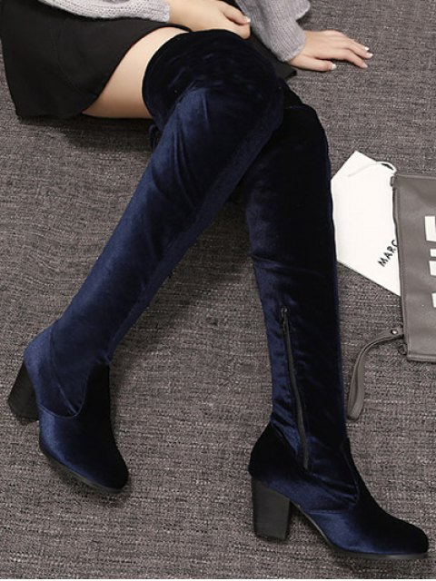outfit Lace Up Chunky Heel Zip Thigh Boots - DEEP BLUE 39 Mobile