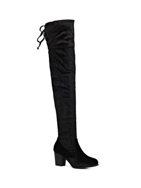latest Lace Up Chunky Heel Zip Thigh Boots - BLACK 39 Mobile