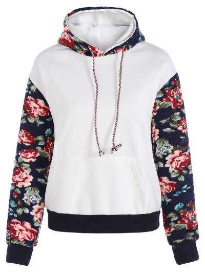 Floral Spliced Long Sleeve Pullover Hoodie - WHITE M Mobile