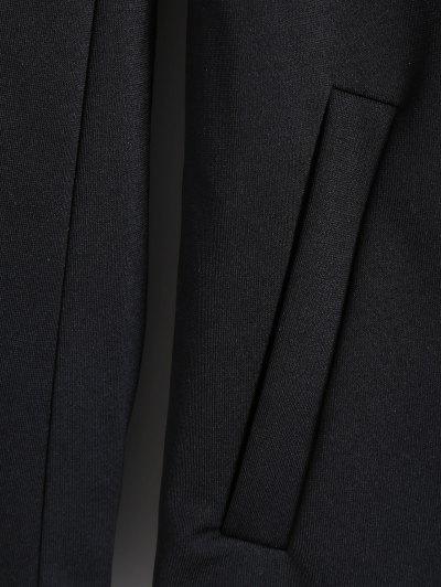 Lapel Collar Dragon Embroidered Coat - BLACK L Mobile