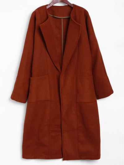 Side Slit Maxi Coat - BRICK-RED ONE SIZE Mobile