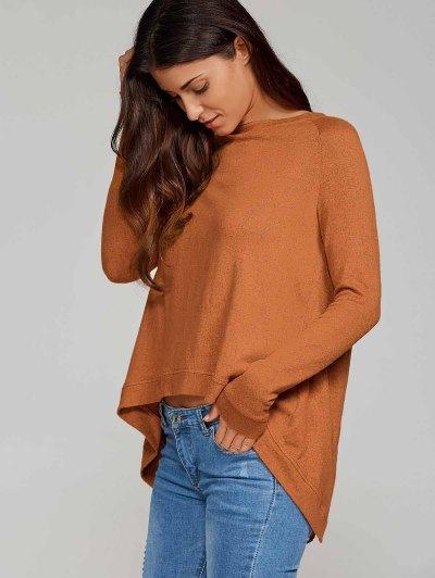 High Low Back Slit Knitwear - CAMEL XL Mobile