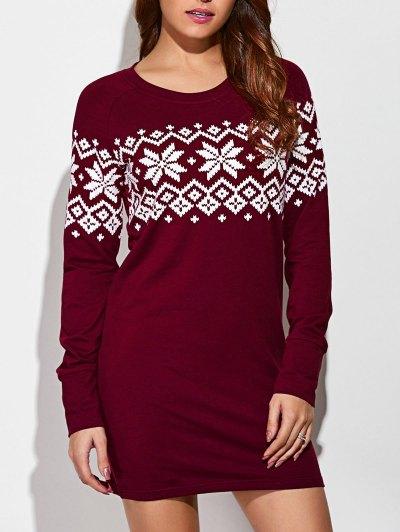 Raglan Sleeve Snowflake Pattern Dress - RED WITH WHITE XL Mobile