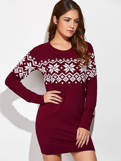 Raglan Sleeve Snowflake Pattern Dress - RED WITH WHITE L Mobile