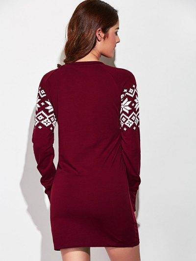 Raglan Sleeve Snowflake Pattern Dress - RED WITH WHITE M Mobile