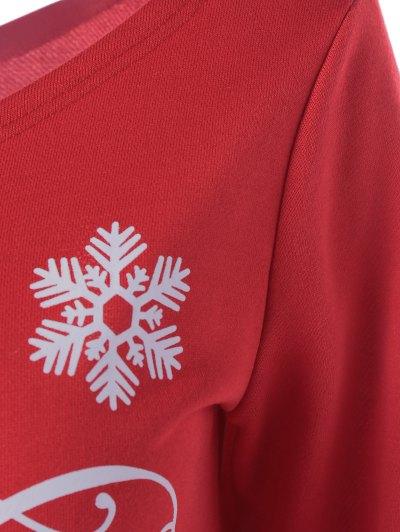 Snowflake Pattern Skew Collar Sweatshirt Dress - RED WITH WHITE M Mobile