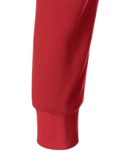 Snowflake Pattern Skew Collar Sweatshirt Dress - RED WITH WHITE L Mobile
