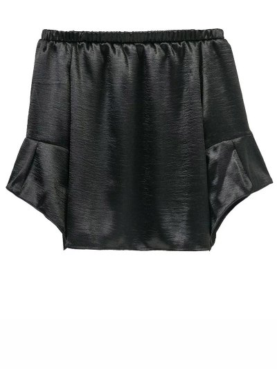 Off The Shoulder Velvet Smcok Top - BLACK L Mobile