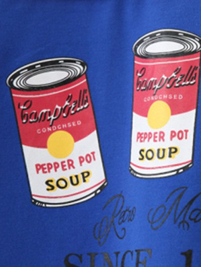 Crew Neck Pepper Pot Graphic Sweatshirt - LIGHT BLUE ONE SIZE Mobile