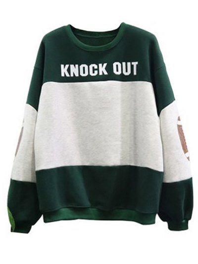 Color Block Oversized Sweatshirt - GREEN ONE SIZE Mobile