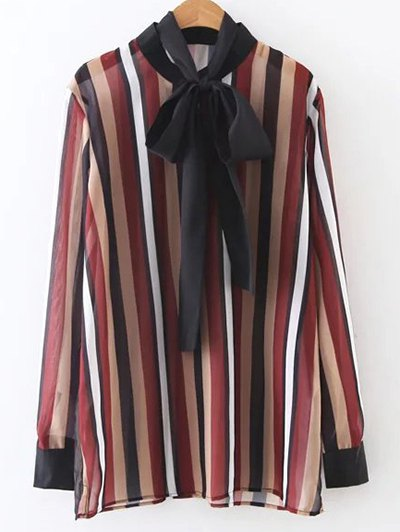 Colorful Striped Bow Tie Blouse - STRIPE M Mobile