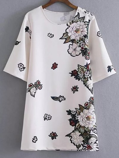 Round Neck Floral Shift Dress - WHITE S Mobile