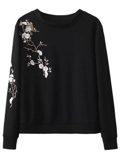 Floral Bird Embroidered Sweatshirt - BLACK L Mobile