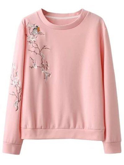 Floral Bird Embroidered Sweatshirt - PINK M Mobile