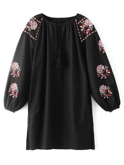 Lantern Sleeve Embroidered Tunic Blouse - BLACK L Mobile
