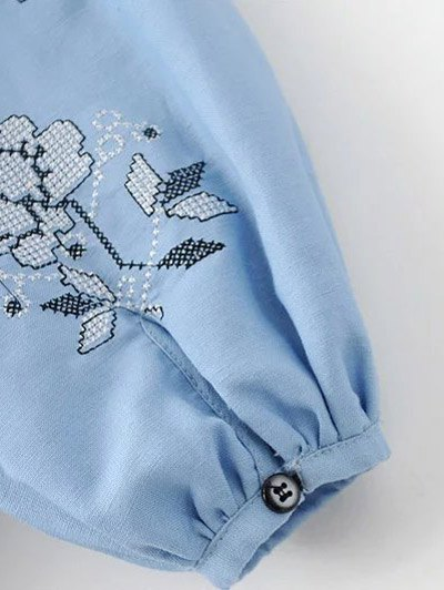 Lantern Sleeve Embroidered Tunic Blouse - BLACK M Mobile