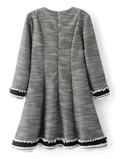 Frill Trim Long Sleeve A Line Dress - GRAY M Mobile