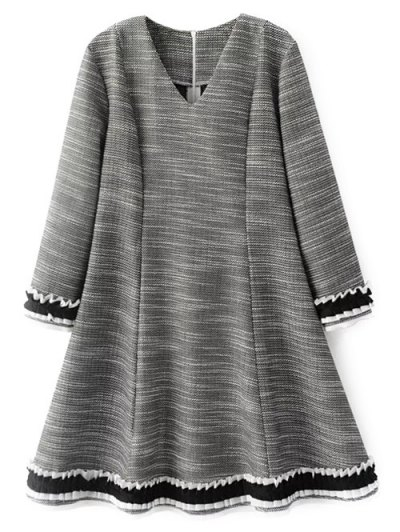 Frill Trim Long Sleeve A Line Dress - GRAY S Mobile