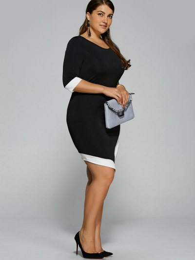 Overlap Contrast Trim Bodycon Plus Size Dress - WHITE AND BLACK 2XL Mobile