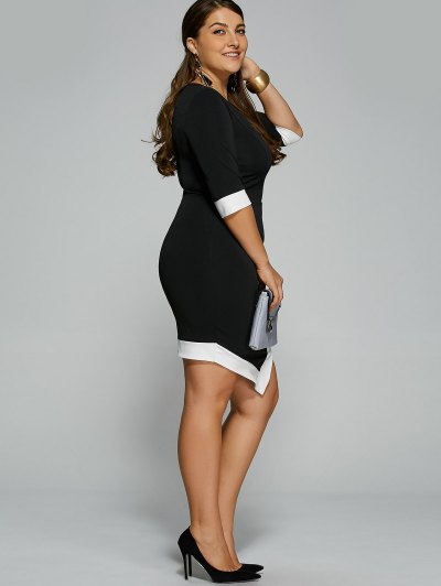 Overlap Contrast Trim Bodycon Plus Size Dress - WHITE AND BLACK XL Mobile