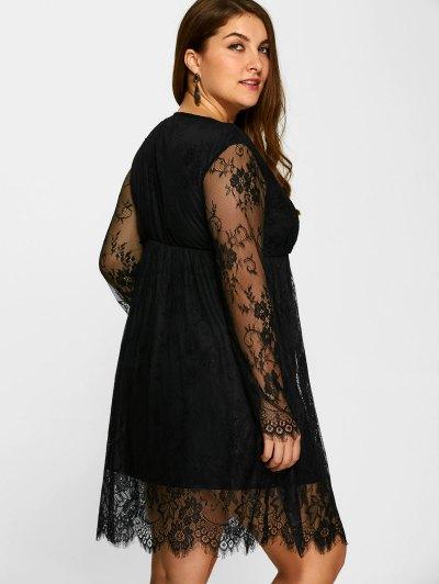 Empire Waist Lace Plus Size Dress - BLACK 2XL Mobile