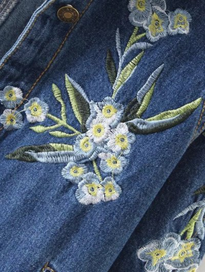 Contrast Floral Embroidered Denim Jacket - DENIM BLUE L Mobile