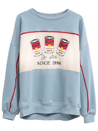 Crew Neck Pepper Pot Graphic Sweatshirt - LIGHT BLUE ONE SIZE Mobile