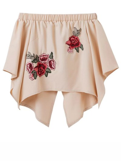 Crossover Back Off The Shoulder Smock Top - YELLOWISH PINK M Mobile