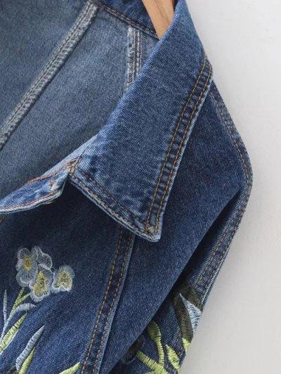 Contrast Floral Embroidered Denim Jacket - DENIM BLUE L Mobile