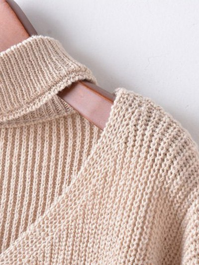 Zippered Sleeve Choker Jumper - DARK KHAKI ONE SIZE Mobile