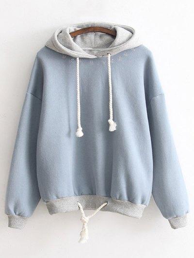 Bicolor Drawstring Pullover Hoodie - Light Blue