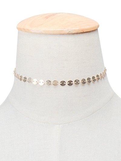Cobre Collar Gargantilla De Las Lentejuelas - Dorado