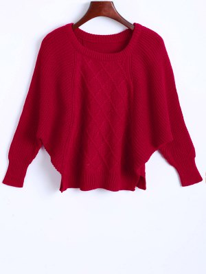 Argyle Batwing Sleeve Sweater - Red