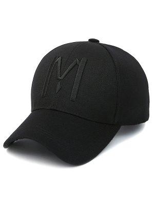 Letter M Baseball Cap - Jet Black