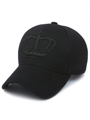 Embroidery Crown Baseball Cap - Jet Black