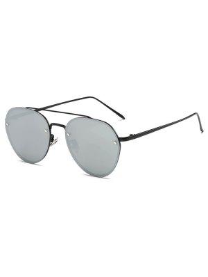 Cross Bar Mirror Pilot Sunglasses - Silver